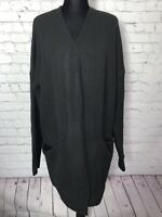 NWT! David Bitton Buffalo Women's Cardigan Sweater Black Open Front 2 Pockets XL