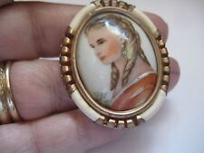 Antique French Hand Painted Miniature Beautiful Lady Brooch Marked FRANCE 73