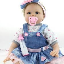 "Reborn Baby Doll Handmade Real Looking Newborn Vinyl Silicone Reborn Doll 16"" BL"