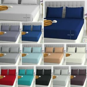 Easy Care soft Plain dyed 25cm Fitted Sheets Single Double 4FT King Super King