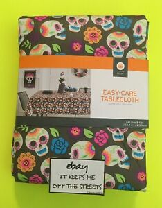 """❤️Sugar Skull Tablecloth Day of the Dead Halloween Floral Oblong 60""""x84"""" Vinyl❤️"""