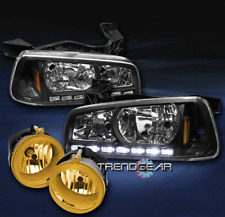 2006-2009 DODGE CHARGER DRL LED BLACK CRYSTAL HEAD LIGHTS+YELLOW BUMPER FOG LAMP