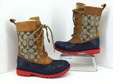 """COACH """"Laura"""" Signature Womens Winter Rain Snow Boots, Multi-color Size 5 B"""