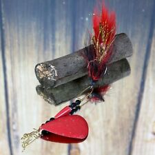 Musky Inline Spinner Muskie Lure Red & Black Bucktail HAND MADE HAMMERED BLADE