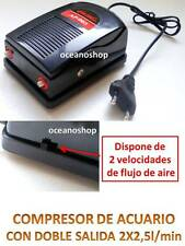 .OXIGENADOR 2x2x5l/min de ACUARIO Pecera DOBLE 2 SALIDAS COMPRESOR Bomba aire