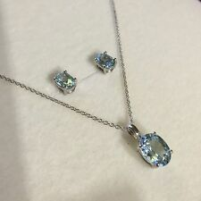 SET Solid silver, oval aquamarine matching necklace & stud earrings BOXD Plum UK