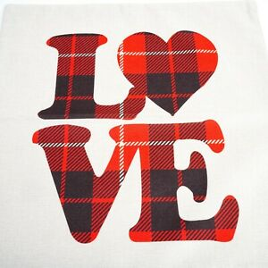 """LOVE Pillow Cover 17x17"""" Square Zipper Red Plaid Letters Beige Background NWOP"""