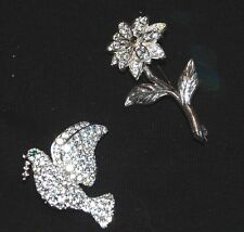 Fashion Brooches - Dove, Flower Silver Tone And Simulated Diamond
