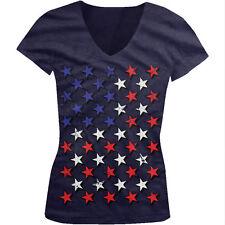 Red White And Blue Stars Flag USA America Patriotic Juniors V-neck T-shirt