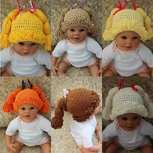 New Knit Crochet Baby Kids Cabbage Patch Doll Wig Hat Cap Newborn Photo Prop Hat