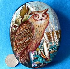 Genuine Russian HAND PAINTED BROWN OWL & FISH LACQUER box Kholui ORLOVA signed