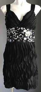 AJOY Black Sequin Waist Band Stretch Mini Dress Size 8