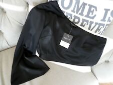 Fab Black Satin One Sleeve Cropped Topshop Top - Size 8