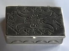 VINTAGE NAVAJO INDIAN SILVER BEES & FLOWERS STAMPWORK PILL BOX