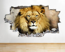 H785 Lion Stare Cat Wild Animals Smashed Wall Decal 3D Art Stickers Vinyl Room