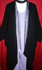 Gorgeous Long Beaded MONSOON Wrap Necklace High-Gloss Black Strands Net Choker