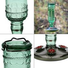 green antique bottle decorative glass hummingbird feeder - 10 oz. capacity