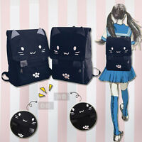 Cute Cat Paw Embroidery Shoulder Bag School Book Bag Lolita Girl Canvas Backpack