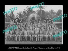 OLD LARGE HISTORIC PHOTO OF WWII RAAF, THE No 8 SQUADRON AT KOTA BHARU c1941
