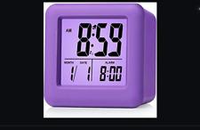 Plumeet Digital Alarm Clocks Kids Clock with Snooze and Purple Nightlight