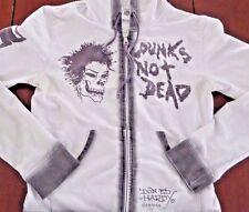 ED HARDY Women's Meduim Zip Hoodie Jacket PUNKS NOT DEAD Skull