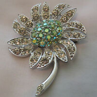 Vintage Fashion Flower Rhinestone Aurora Borealis Brooch Pin Sarah Coventry #59