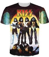 New Fashion Womens/Mens Kiss Love Gun Funny 3D Print Casual T-Shirt USJ108