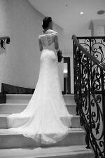 Ivory off the shoulder lace wedding dress, Lusan Mandongus, Sharissa Size UK6