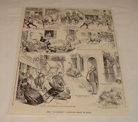 1893 magazine engraving ~ GALLUMBO, RUNNING OF THE BULLS, Spain