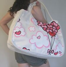 BEACH BAG Large,Red Balloons,Hearts Pink,Cream,Big,Hand