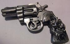 PISTOL & SKULL BELT BUCKLE - REVOLVER PISTOL - NEW GUN BUCKLE