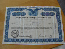 Set of 2 Vintage Brandywine Raceway Association, Inc Stock Certificate