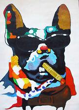 "CANVAS DOG CIGAR sun glasses PRINT PAINTING BIG MAFIA  LARGE 80cm 32"""