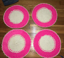 4 VTG Handmade Knit PINK WHITE Round Placemats Flower Reversible Texture