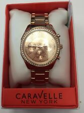 CARAVELLE Women's Rose Gold Tone Rose Dial Crystals Chronograph WATCH 44L117