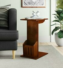 Unique C-Shaped End Sofa Side Snack Table With Magazine Holder For Living Room