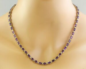 27.68 Carat Natural Amethyst 14K Solid Yellow Gold Luxury Diamond Necklace