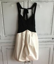 BCBG Max Azria Vapor Jersey Taffeta Halter Dress Size 8 Side Pockets Black Ivory