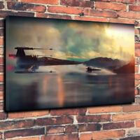 """Star Wars X Wing Fighters Printed Box Canvas Picture A1.30""""x20"""" 30mm Deep Frame"""