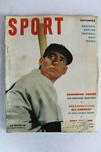 Vintage SPORT Magazine September 1951 Ted Williams Baseball Man Cave Bar Decor