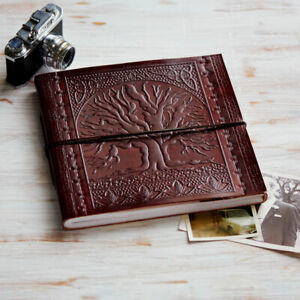Tree Of Life Embossed Leather Photo Album Handmade 2 sizes 30 pages