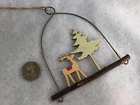 12cm Wooden Reindeer On A Log Loop Christmas Decoration Vintage Gisela Graham