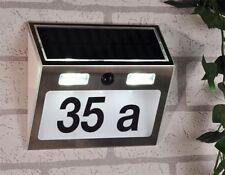 Hausnummer Solar Edelstahl mit LED Beleuchtung & Bewegungsmelder Haus Nummer