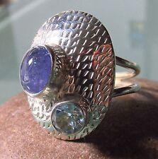 Sterling Silver Modernist Style Bleu Tanzanite & Cut Topaz Ring UK K 1/2 - 3/4/5.75 US
