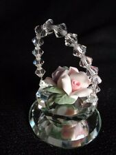 MINIATURE CRYSTAL BASKET WITH PORCELAIN FLOWERS AND CRYSTAL HANDLE EUC