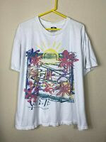 Mens Large Nike USA MADE 90s VTG Just Do It White Abstract Sun Graphic Shirt