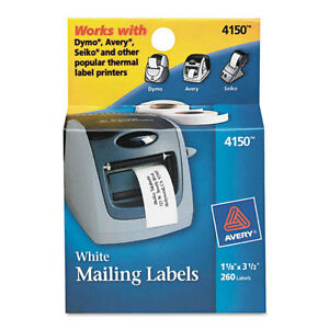 """Avery Thermal Printer Labels, Address, 1 1/8 X 3 1/2, White, 260 Labels/box"""