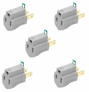 SET OF 5 - Eaton 419GY Grounding Adapter 15A-125V 2-Pole 3-Wire, Gray