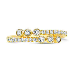 14k Yellow Gold Diamond Wrap Bypass Ring Bezel Round Cocktail Statement Pave