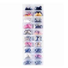 20X Clear Plastic Shoe Organizer Clear Shoe Boxes Holder Foldable Stackable Bulk